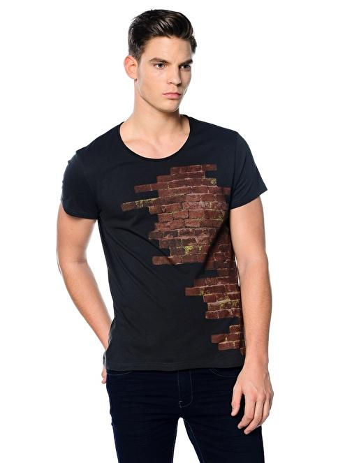 Kaft Baskılı Tişört Gri